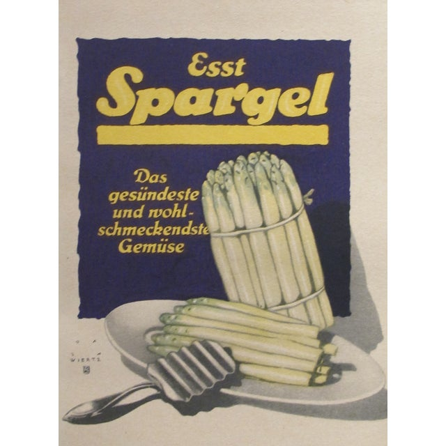 Original 1927 Spargel Lithographic Mini Poster For Sale