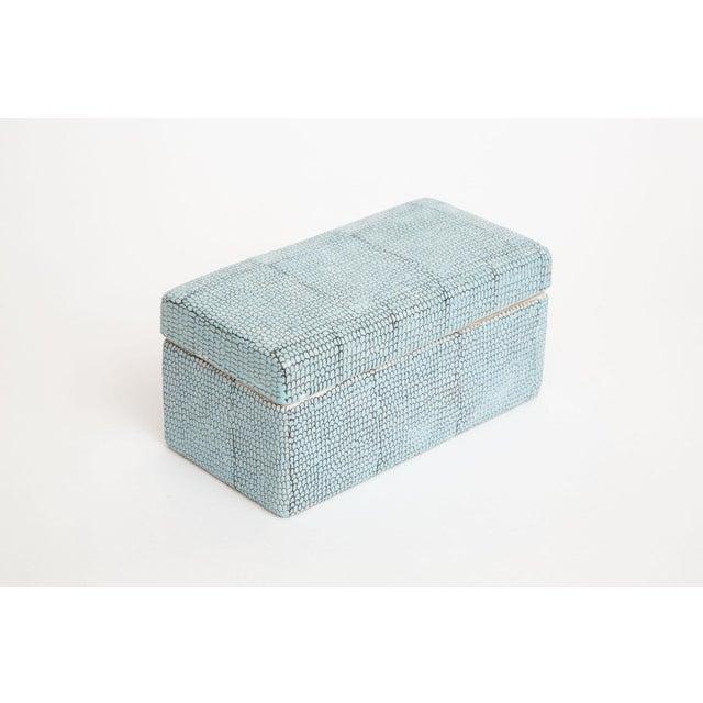 Turquoise Robins Egg Blue Snakeskin Glazed Porcelain Lidded Box For Sale - Image 4 of 13