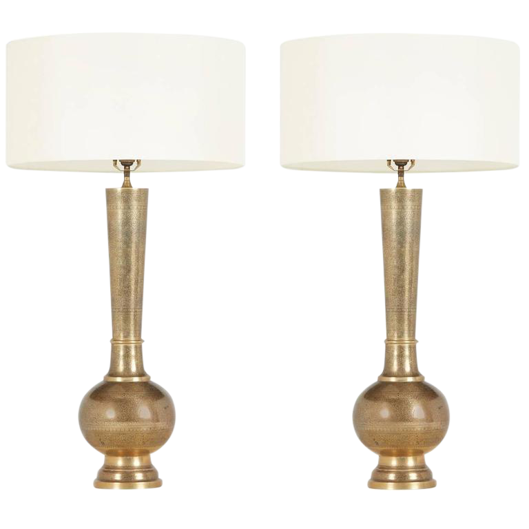 1950u0027s Etched Brass Table Lamps In The Style Of Persian Khatam   A Pair    Image