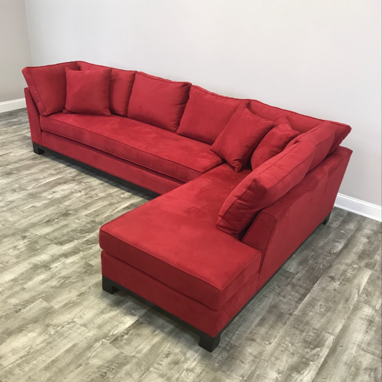 Century Furniture Microsuede Sectional Sofa   Image 3 Of 11