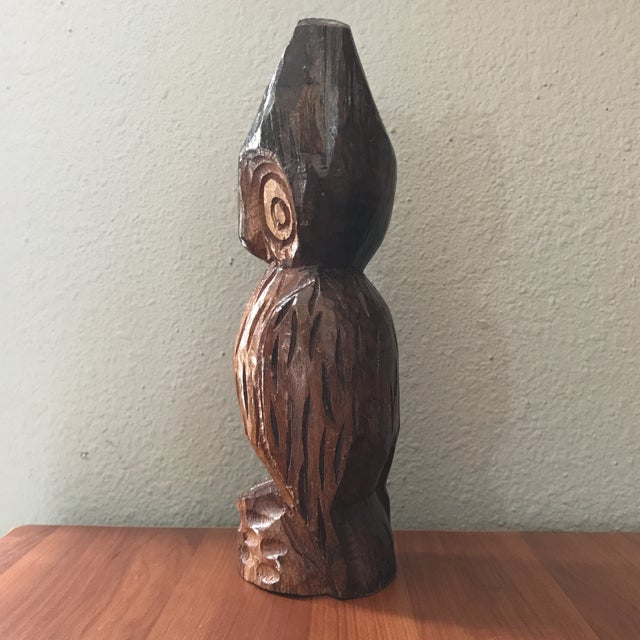 Vintage Hand Carved Handcrafted Wood Owl Figurine For Sale - Image 4 of 7