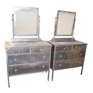 Art Deco Mid Century Industrial Pier Mirror Metal Bel Geddes Style Dressers Vanity Chests - a Pair For Sale