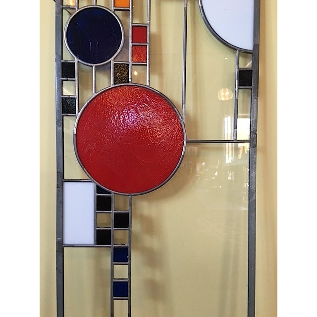 Frank Lloyd Wright Style Stained Glass Window For Sale - Image 4 of 6