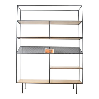 Wrought Iron & Wood Modern Bookshelve For Sale