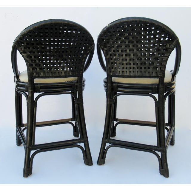 1990s C.1996 Palecek Black Leather Strapped Rattan Counter Stools - a Pair For Sale - Image 5 of 12
