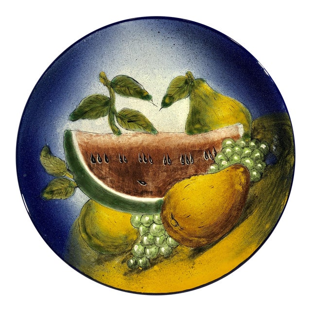 Traditional Southwestern Rustic Mexican Hand Painted Plate For Sale