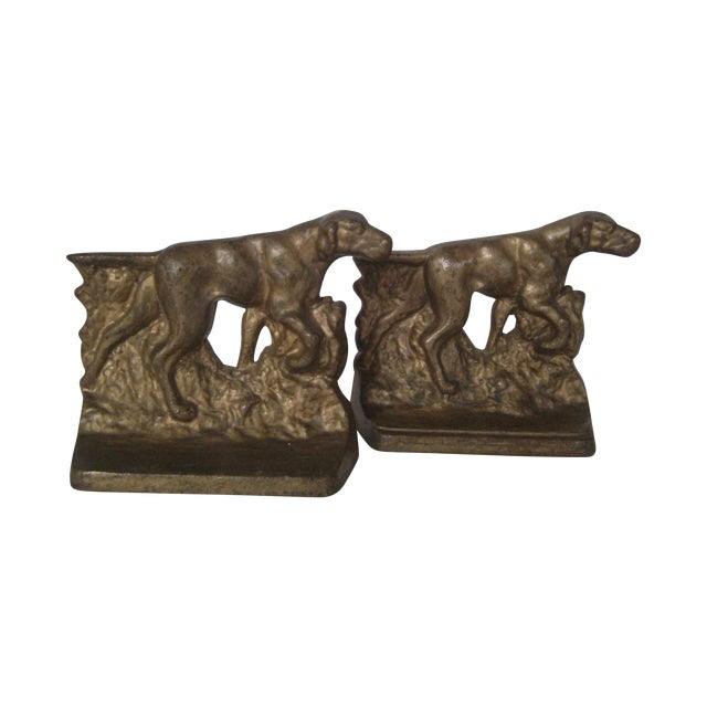 1920s Bronze Pointer Bookends - A Pair - Image 1 of 6