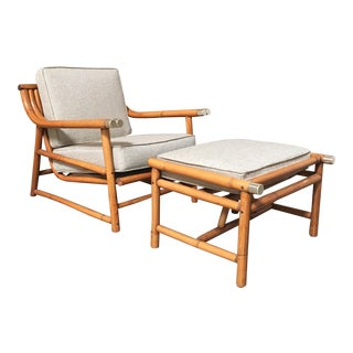 Mid-Century Modern Rattan Lounge Chair & Ottoman - A Pair For Sale