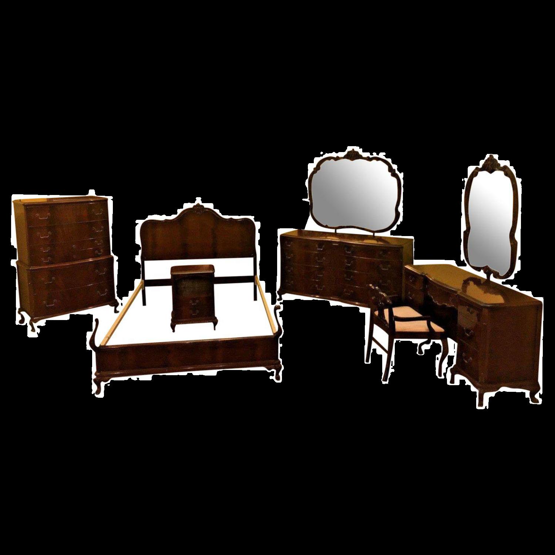 Antique 1930u0027s Colonial Revival Flame Mahogany Bedroom Set For Sale