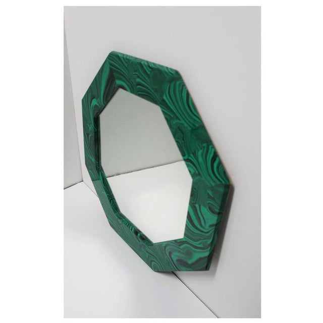 Early 21st Century Green Malachite Octagonol Wall Mirror For Sale - Image 5 of 13