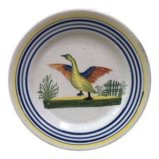 French Faience Bird Plate Henriot Quimper, Circa 1930 For Sale