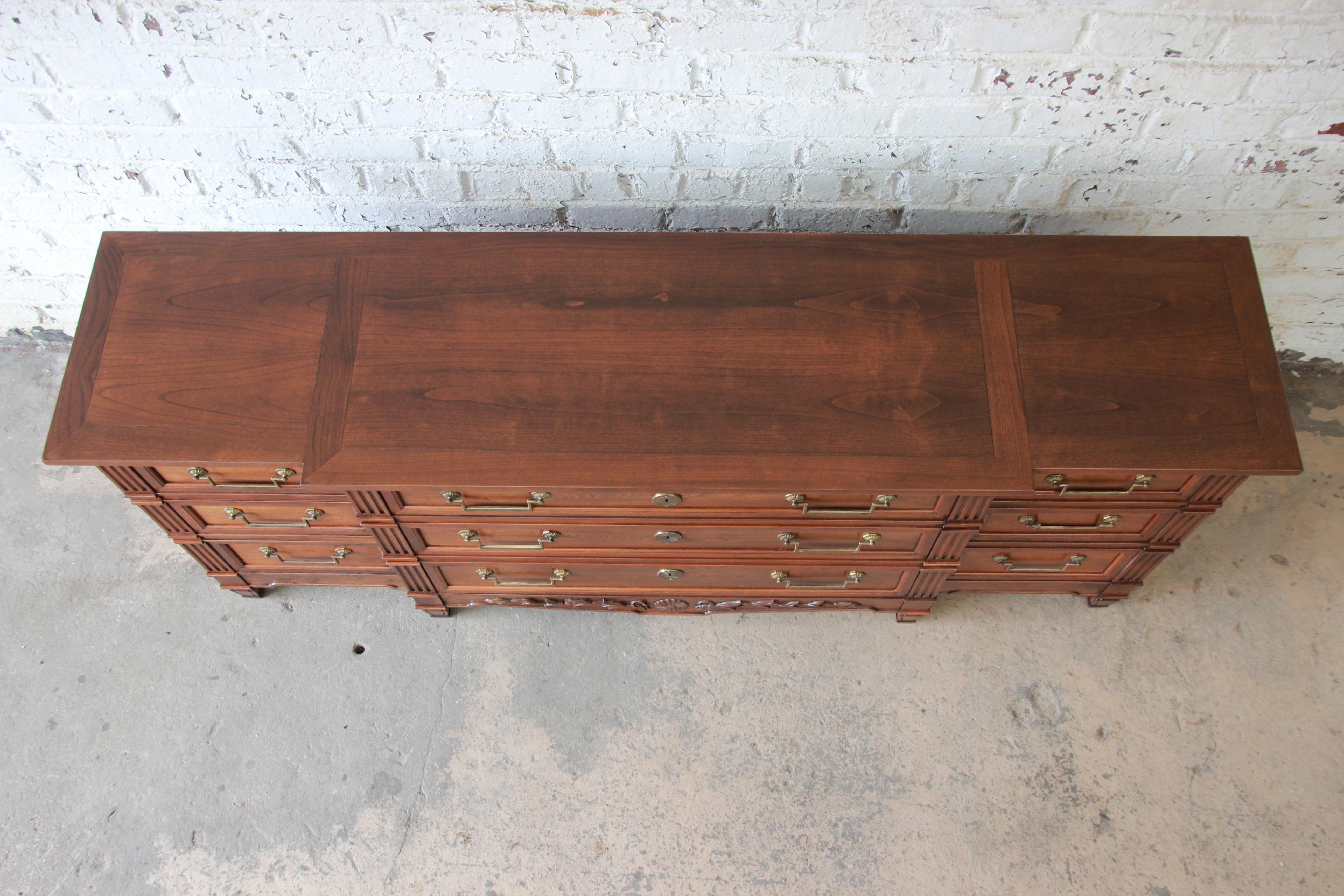 Baker Furniture French Regency Style Cherry Wood Triple Dresser   Image 4  Of 12