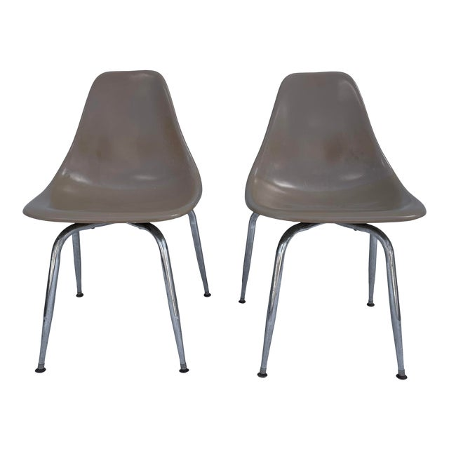 Pair Mid-Century Eames Style Shell Chairs For Sale