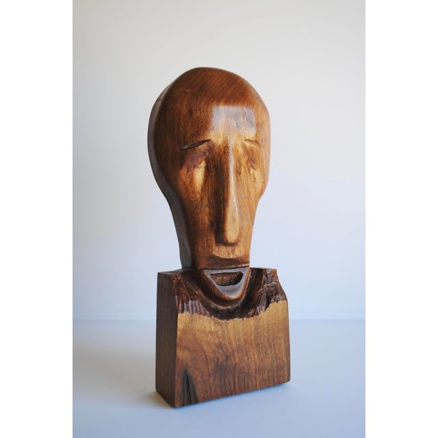Mid-century hand carved wood sculpture. Artist unknown. Beautiful styling for your mantle, console and bookcase!