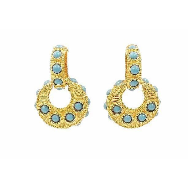 Turquoise Mimi DI N Cabochon Faux-Turquoise Hoop Earrings For Sale - Image 8 of 8