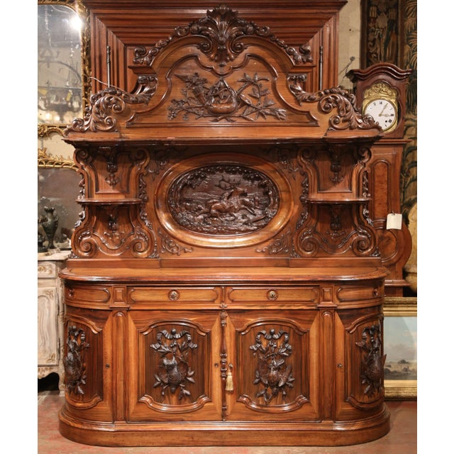 Mid 19th Century Large 19th Century French Carved Rosewood Hunting Buffet With Deer and Birds For Sale - Image 5 of 11
