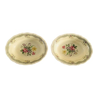 Vintage Cottage Style Floral Serving Bowls - A Pair