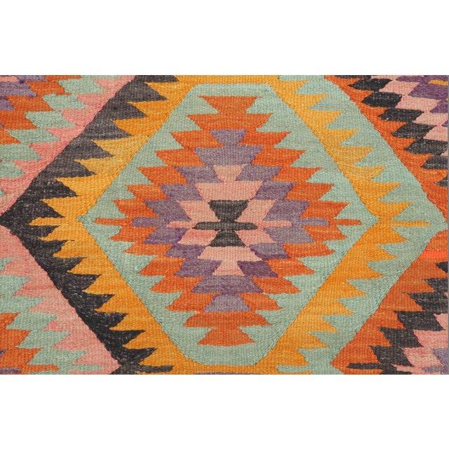 Orange Vintage Turkish Barak Nomad's Flat Weave Rug For Sale - Image 8 of 12