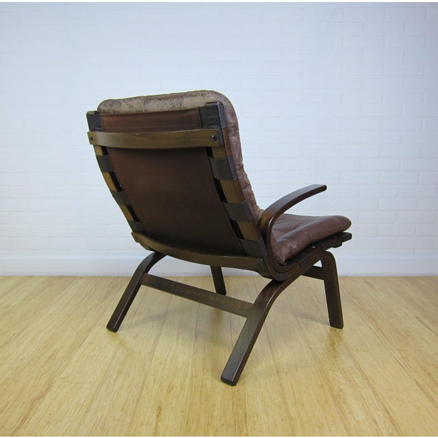 Scandinavian Brown Leather Lounge Chair For Sale - Image 4 of 7
