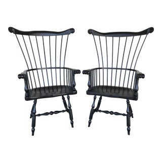 Ethan Allen New Country Burton Windsor Comb Back Arm Chairs - a Pair For Sale