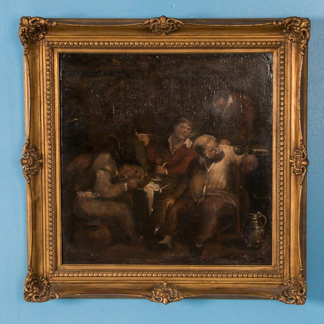 Canvas 19th Century Antique Original Men Drinking in a Tavern French Oil Painting For Sale - Image 7 of 7