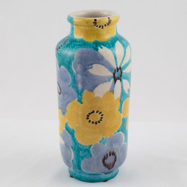 Italian Alvino Bagni for Raymor Aqua Vase With Flowers, Circa 1960s For Sale - Image 3 of 12