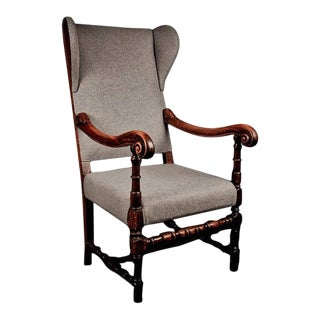 Original Louis XIV walnut throne wing armchair, early 18th century
