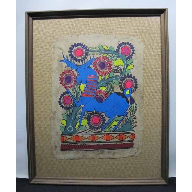 Blue Otomi Mexican Folk Art Amate Painting For Sale - Image 8 of 8