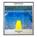 "Image of David Hockney Rare Vintage 1978 Iconic Fine Art Lithograph Print Framed Pop Art Poster "" Day Pool With Three Blues "" For Sale"