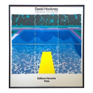 "David Hockney Rare Vintage 1978 Iconic Fine Art Lithograph Print Framed Pop Art Poster "" Day Pool With Three Blues "" For Sale"