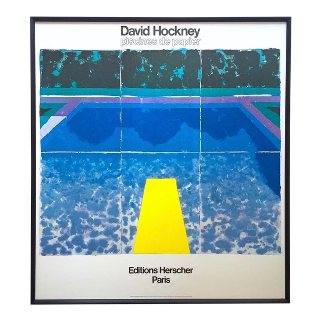 """David Hockney Rare Vintage 1978 Iconic Fine Art Lithograph Print Framed Pop Art Poster """" Day Pool With Three Blues """" For Sale"""