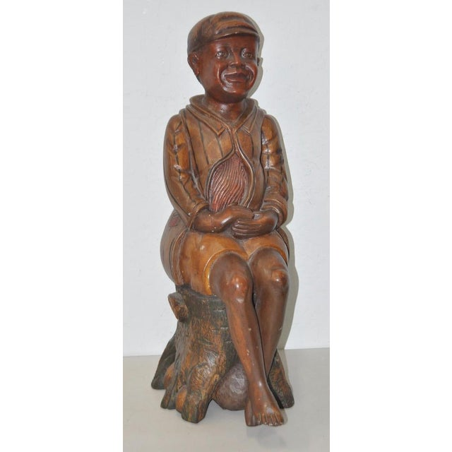 19th Century American Folk Art Hand Carved Seated Boy - Image 2 of 5