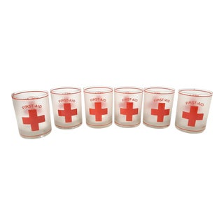 "Mid-Century Culver ""First Aid"" Frosted Rocks Glasses - Set or 6 For Sale"