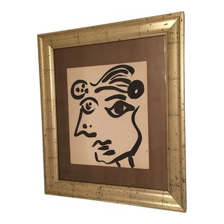 1964 Cubist Face Oil Painting by Peter Keil For Sale