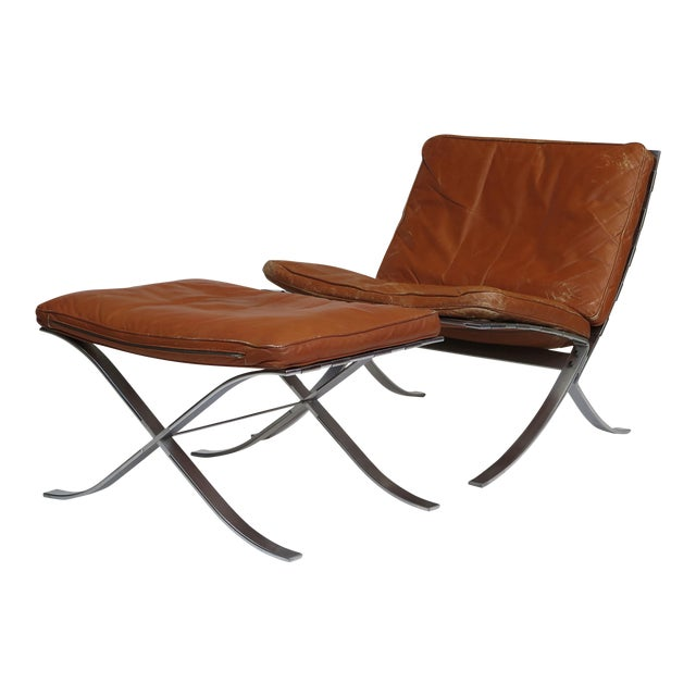 Steen Ostergaard Steel and Leather Lounge Chair & Foot Stool For Sale - Image 13 of 13