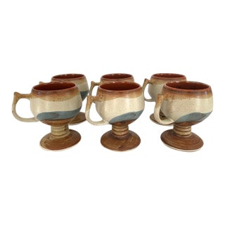 Mid 20th Century Vintage Otagiri Style Stoneware Coffee Cups - Set of 6 For Sale