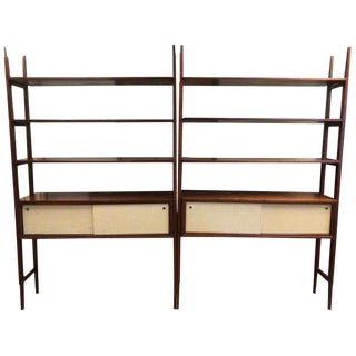 Pair Walnut Mid-Century Modern Wall Units Room Dividers For Sale