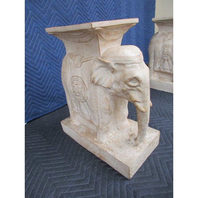 Late 20th Century 20th Century Boho Chic Elephant Pedestals - a Pair For Sale - Image 5 of 13
