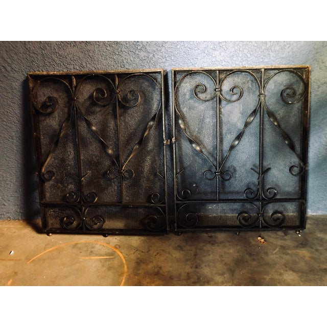 Functional and Handsome! Pair of two heavy black metal iron fireplace doors with full-size decorative scrolls and heavy...
