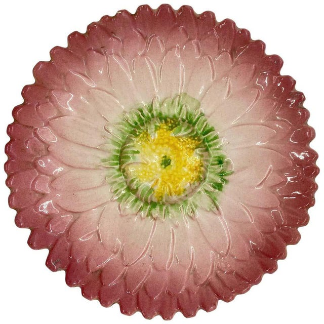 French Majolica Trompe l'Oeil Pink Sunflower Plate, Delphin Massier, Circa 1870 For Sale - Image 6 of 6