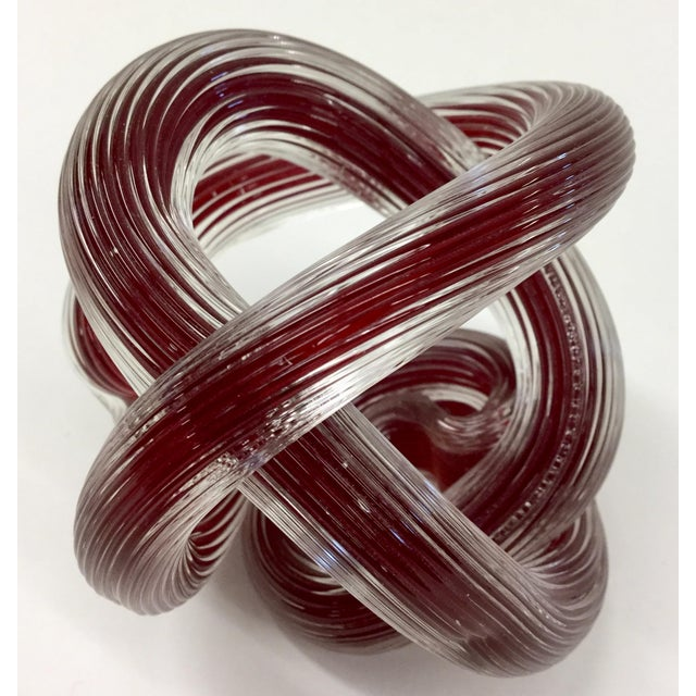 Murano Zanetti Murano Style Ruby Red Glass Knot For Sale - Image 4 of 8