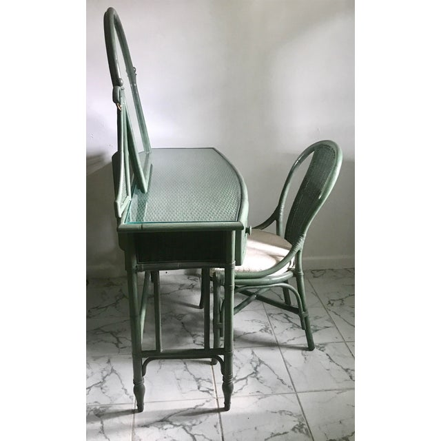 Lane Furniture Co. Rattan Cheval Mirrored Vanity Dressing Table & Chair Set - Image 4 of 11