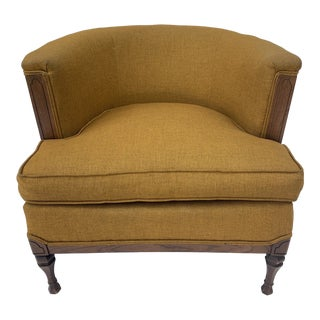 Vintage Mid Century Maxwell Royal Upholstered Barrel Chair For Sale