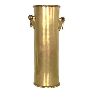 Vintage Tall Umbrella Stand Brass With Ring Handles For Sale