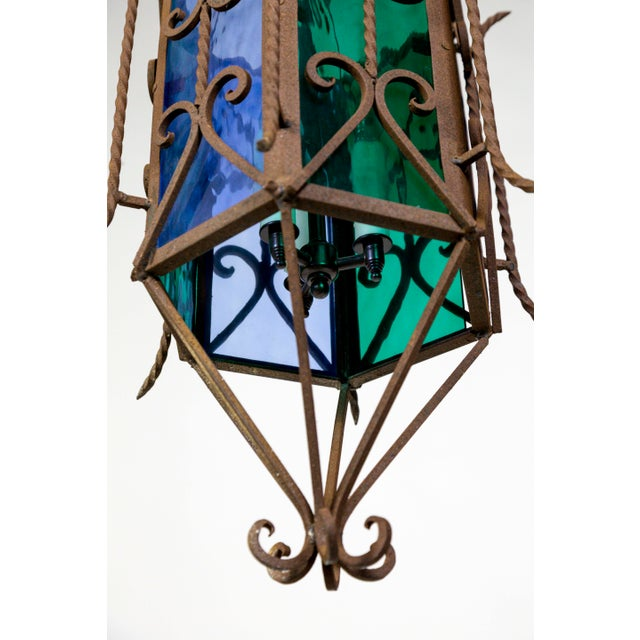 1920s Gothic Revival Lantern With Blue & Green Glass For Sale In San Francisco - Image 6 of 11