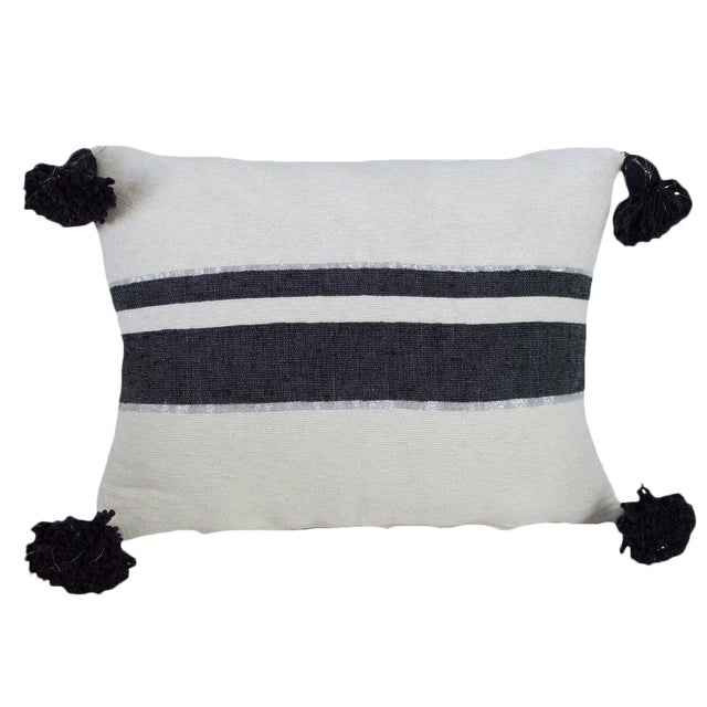 Moroccan Pom Pom Pillow, Black and Silver Stripes on White For Sale
