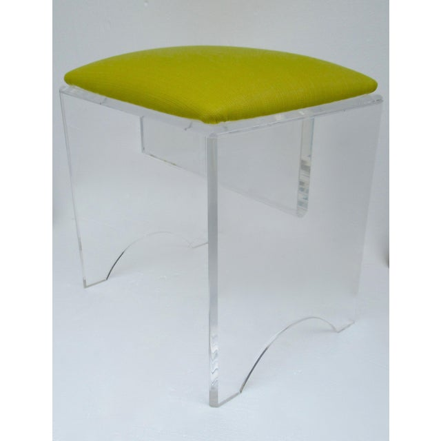 Vintage Mid-Century Lucite Bench With Sunbrella Indoor/Outdoor Textile For Sale - Image 13 of 13