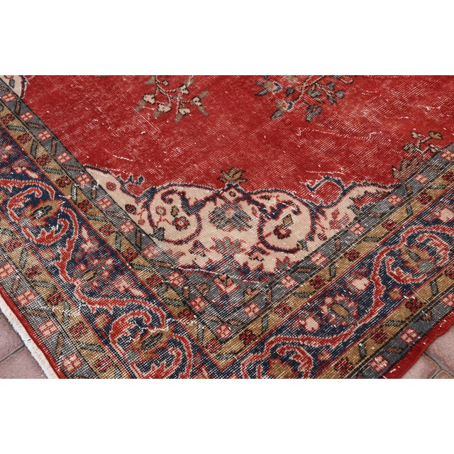"Vintage Turkish Medallion Oushak Rug - 7'1"" X 9'10"" - Image 7 of 7"