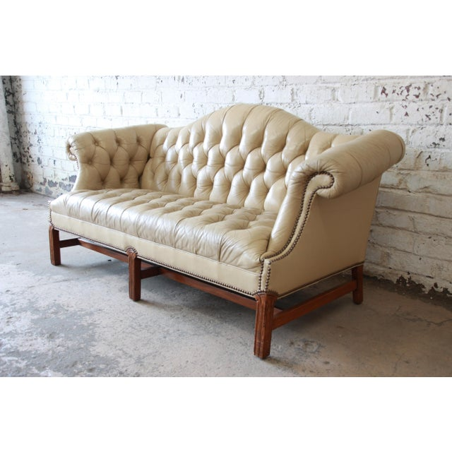 English Vintage Tufted Tan Leather Chesterfield Sofa For Sale - Image 3 of 10