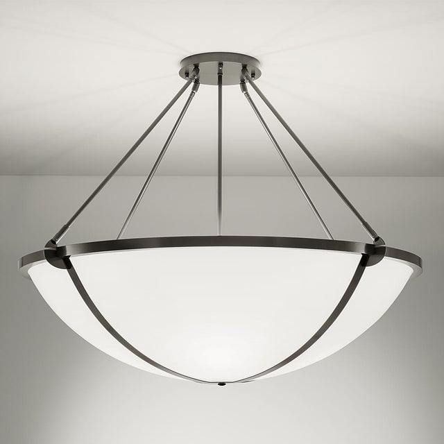 Steel grey frame with opal acrylic diffuser. Certification: IP20. Bulbs: 6 x E27 7W LED 2700K